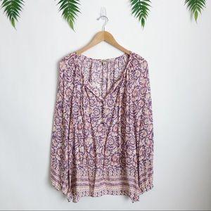 Lucky Brand • Floral Paisley V-Neck Blouse